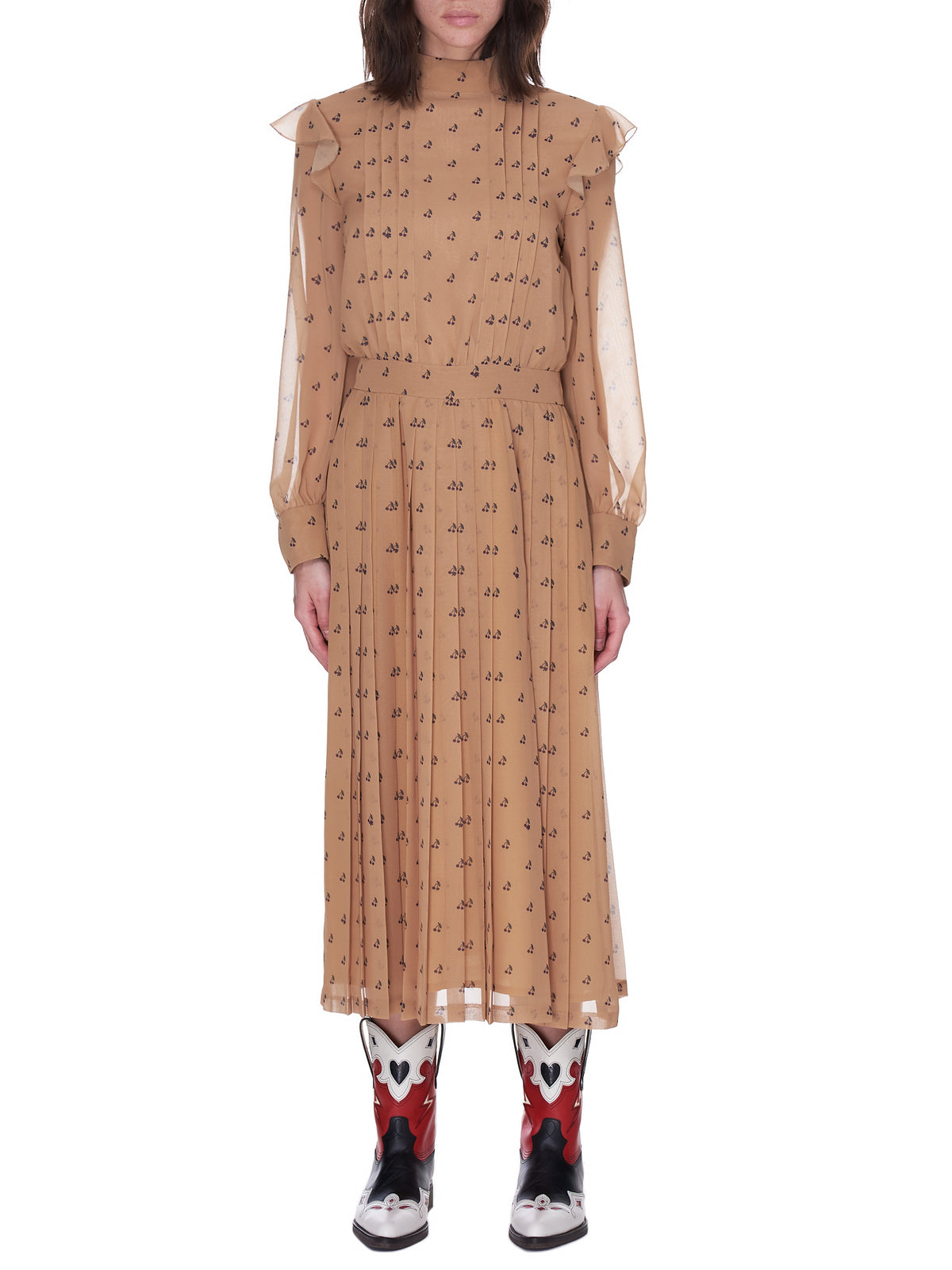 Pleated Cherry Dress (SU1A1702-BEIGE-BASE)