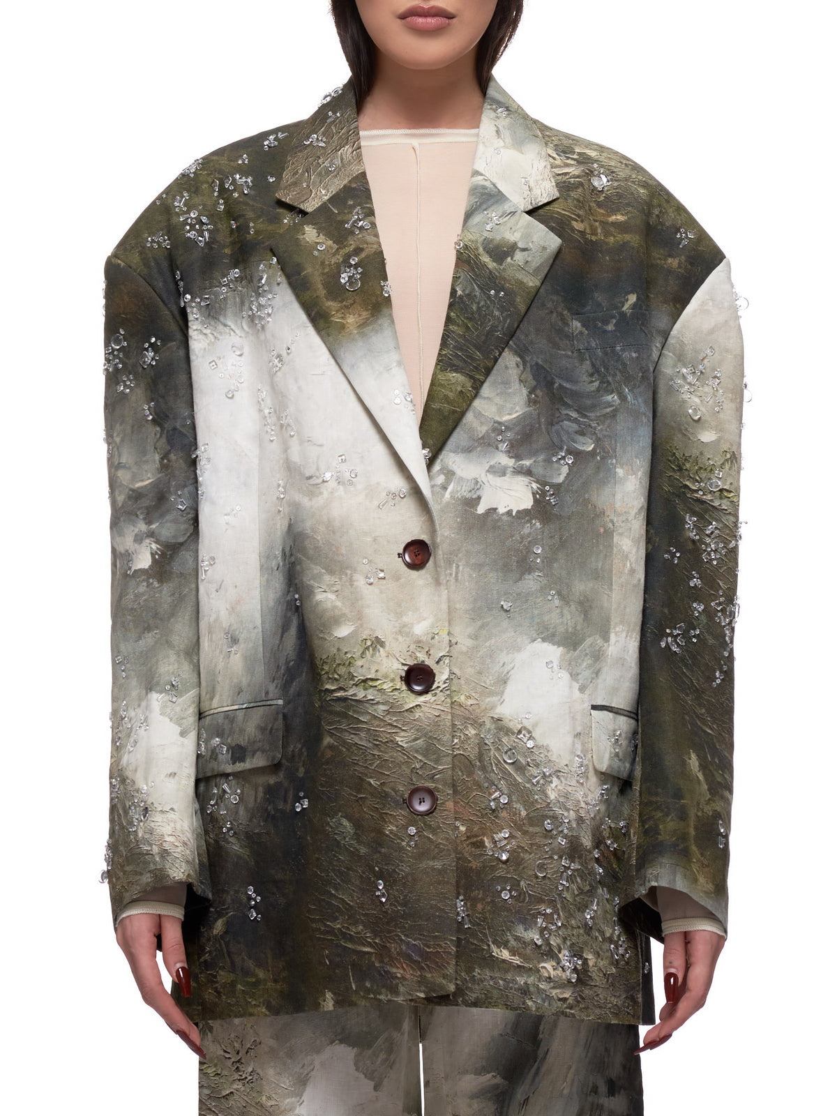 Camouflage & Crystal Suit Jacket (SUIT000167-BROWN-WHITE)