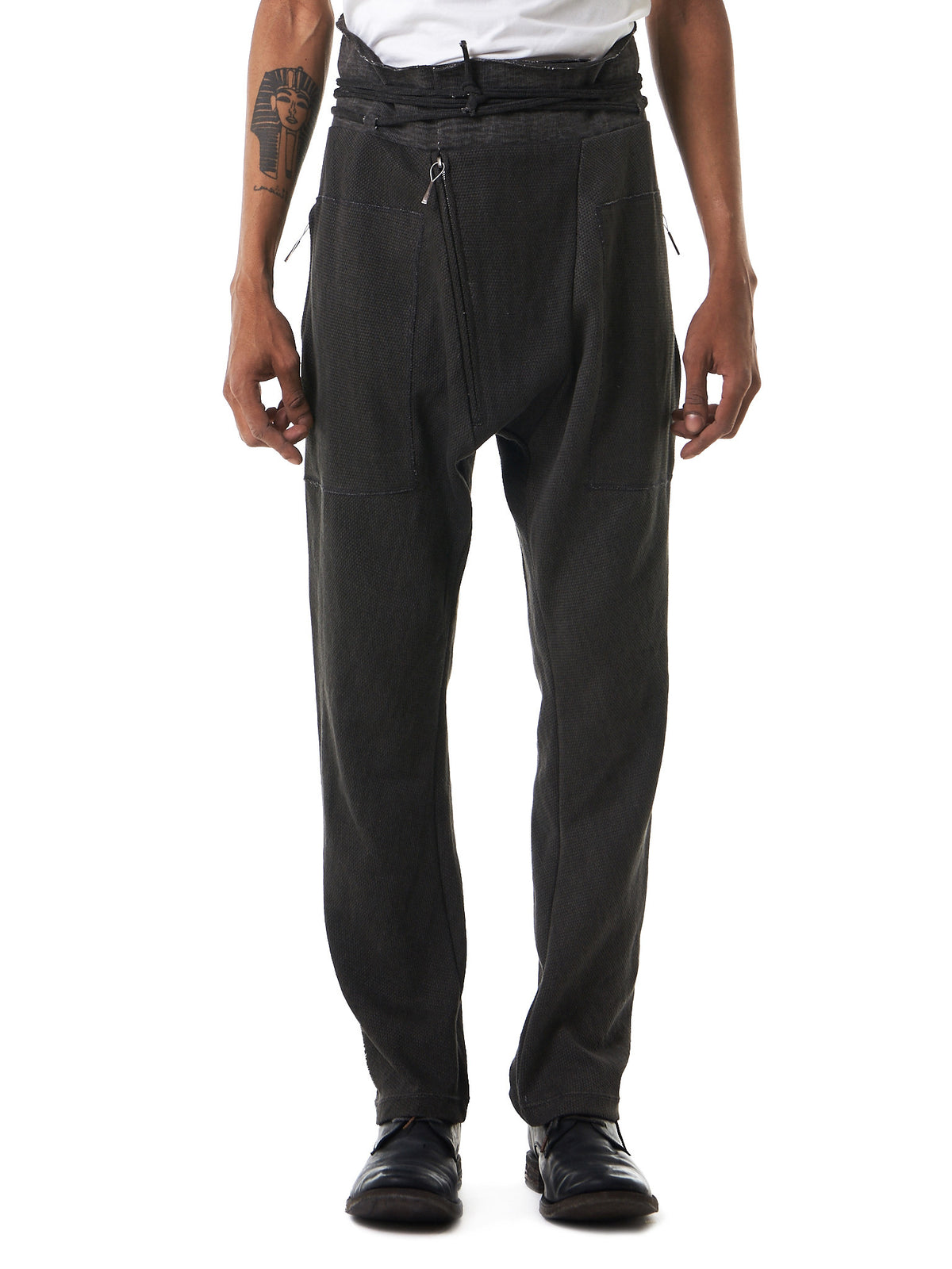 Dropped Front Rise Trousers (SWEATPANTS-CARBON) - H. Lorenzo