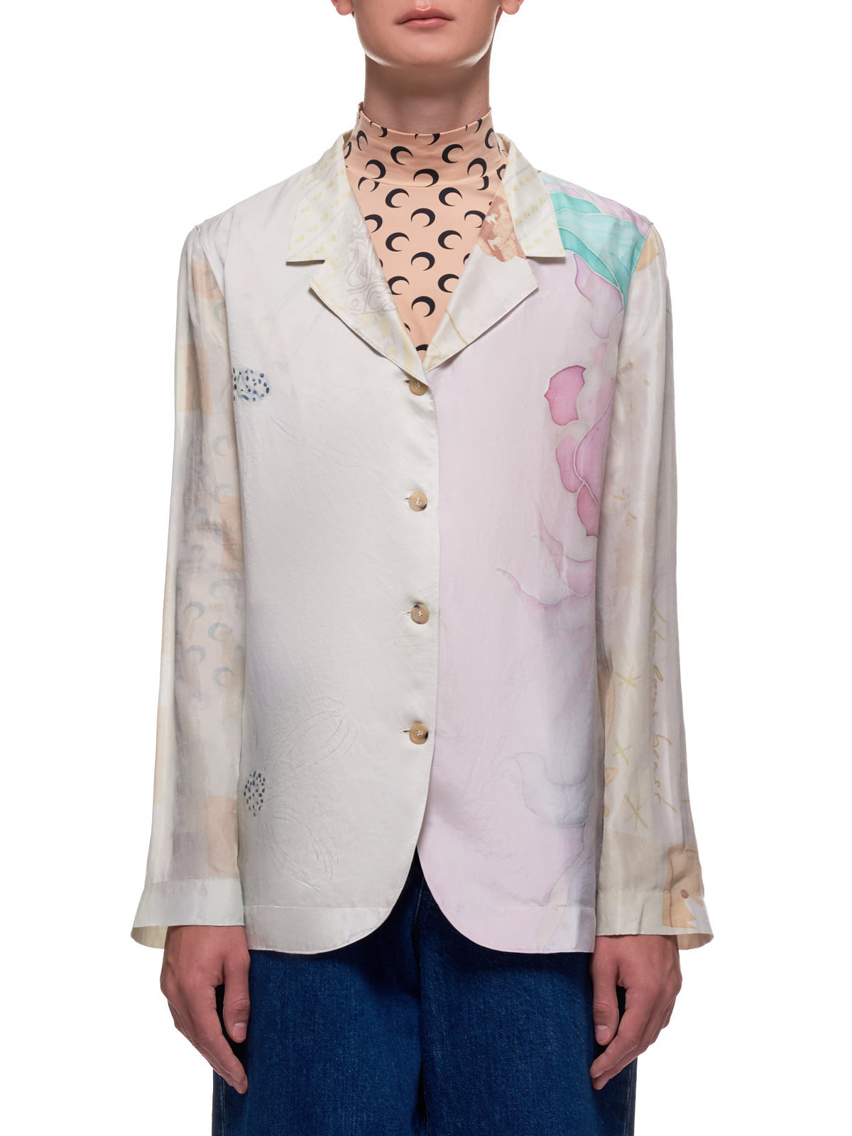 Regenerated Silk Scarves Long Sleeve Camp Shirt (T002-BROKEN-MULTI-BEIGE-RED)