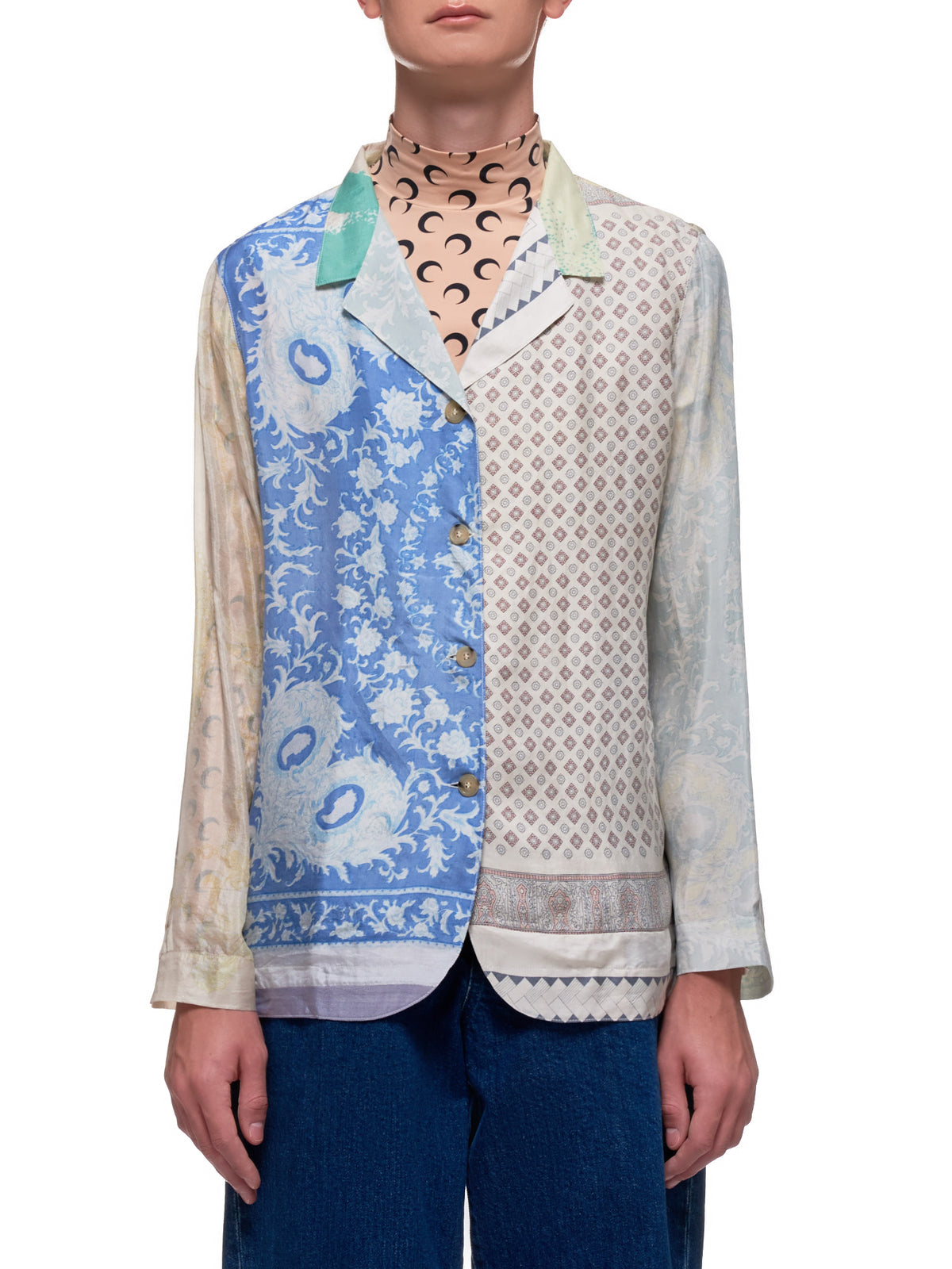Regenerated Silk Scarves Long Sleeve Camp Shirt (T002-BROKEN-BEIGE-LIGHT-BLUE)