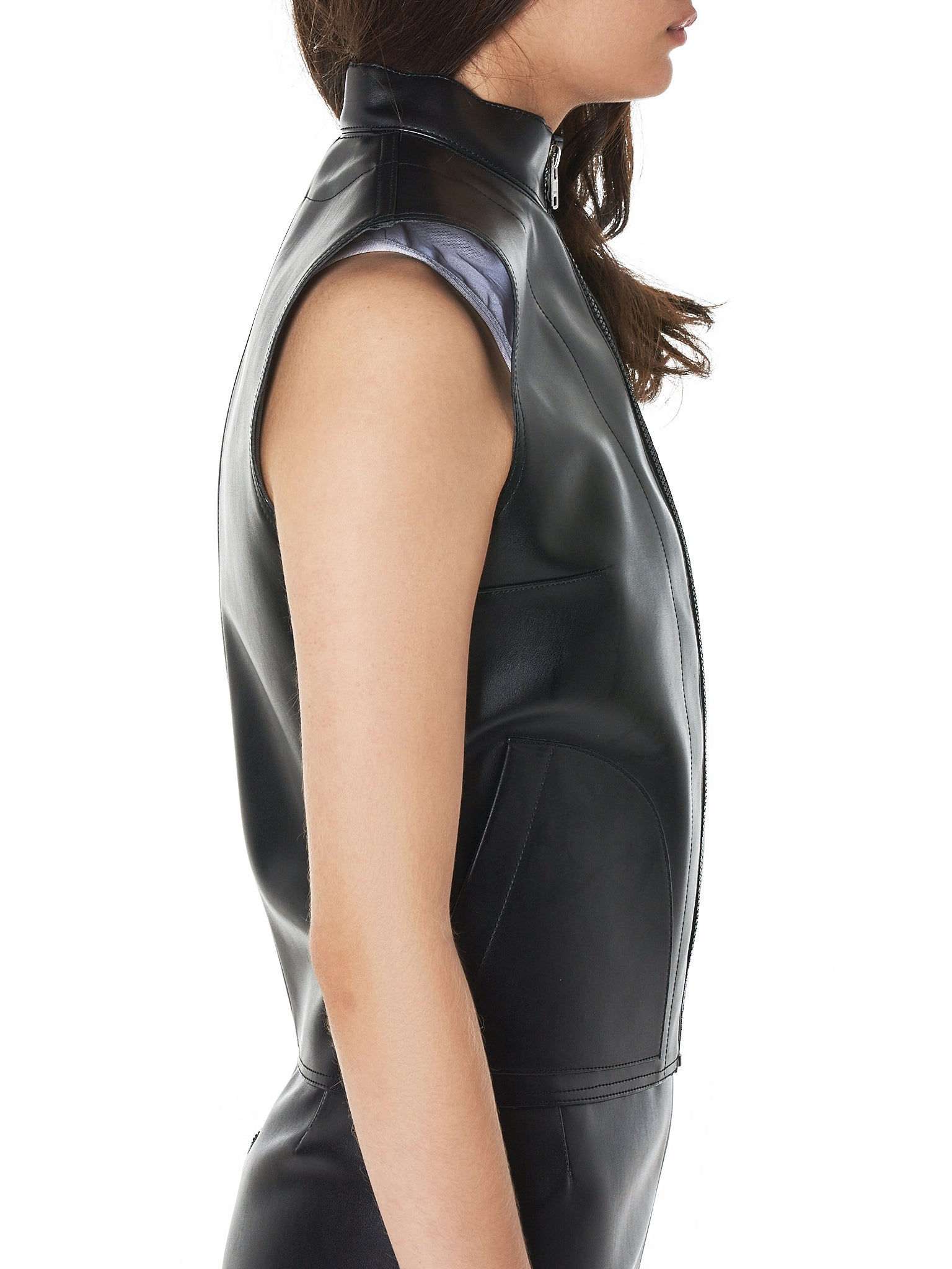 Contoured Leather Vest (T014-FL-BLACK)