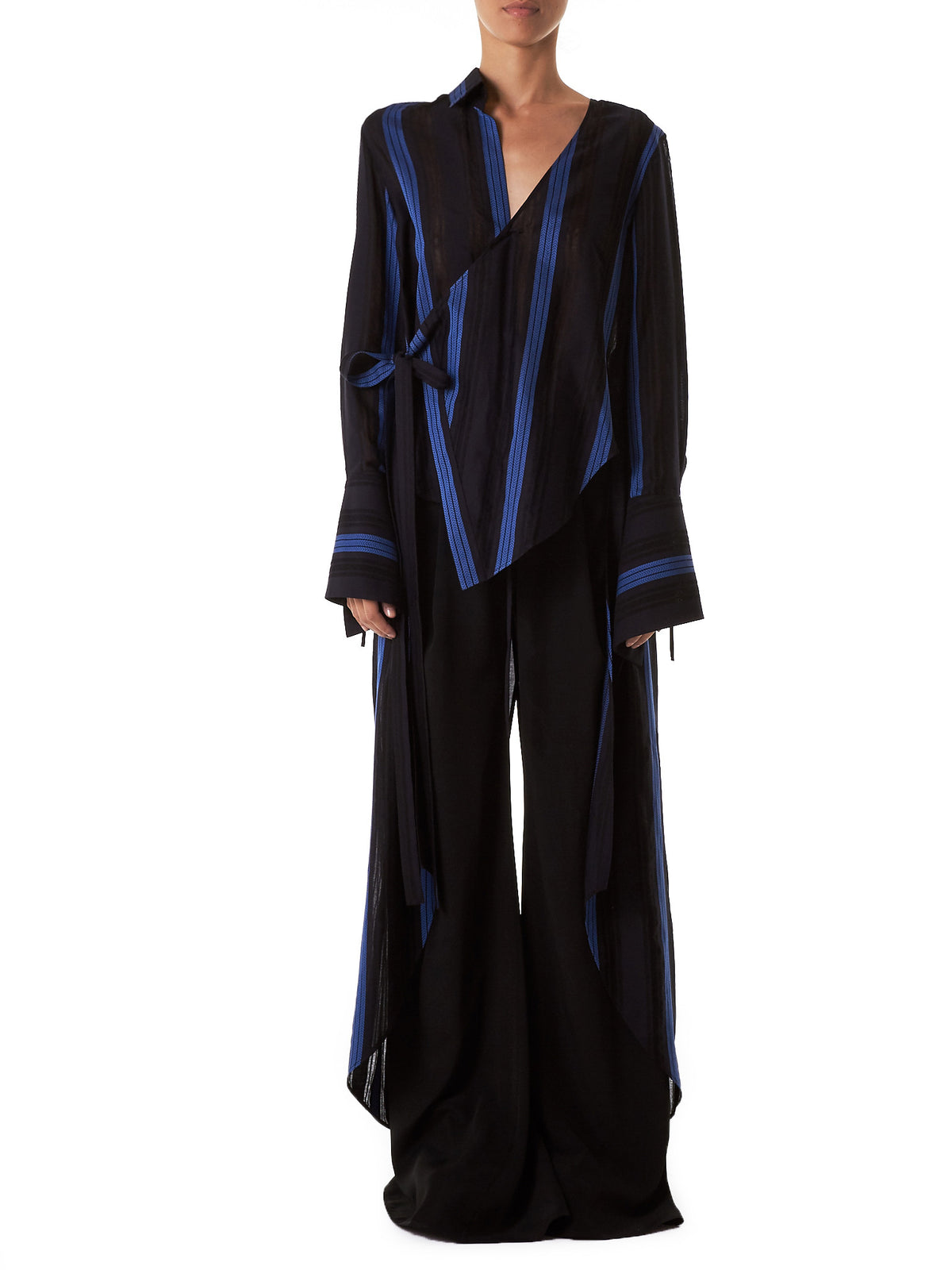 Vented Tailcoat Blouse (T19-BLACK-BLUE)