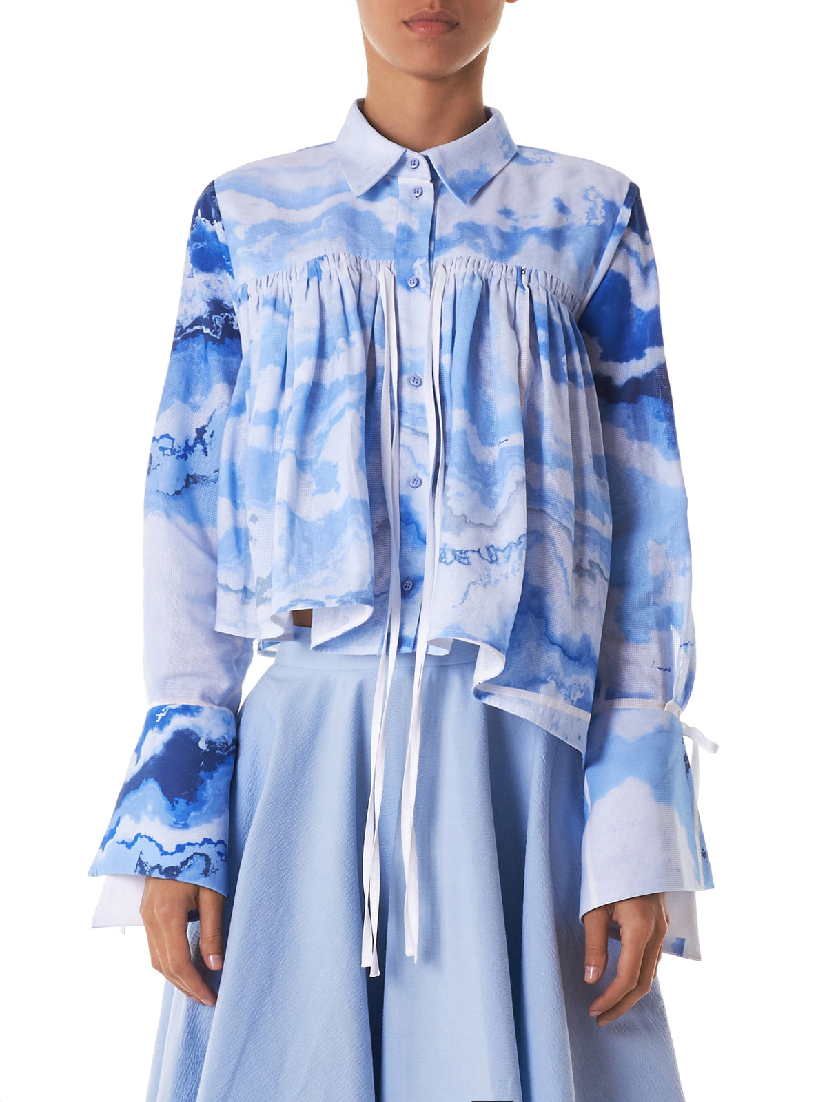 Marbled Asymmetric Blouse (T32-MARBLE-PRINT)