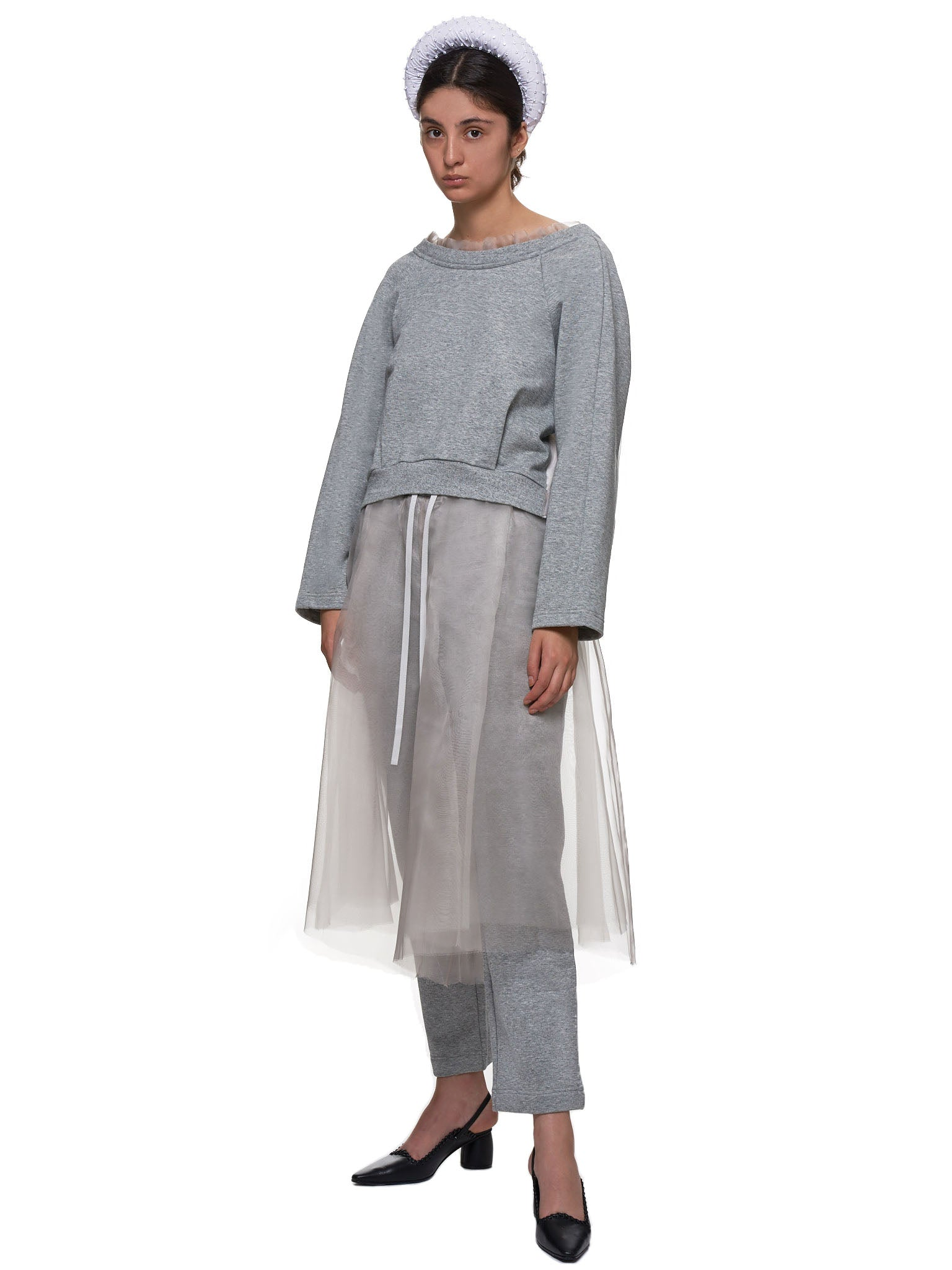 Organza Layered Skirt Trousers (PT32-LIGHT-GREY)