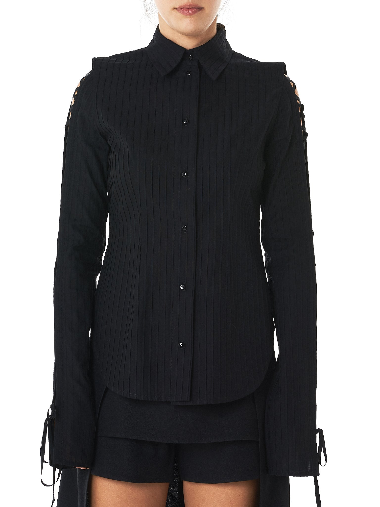 Corset Sleeve Pleated Shirt (T8-BLACK)
