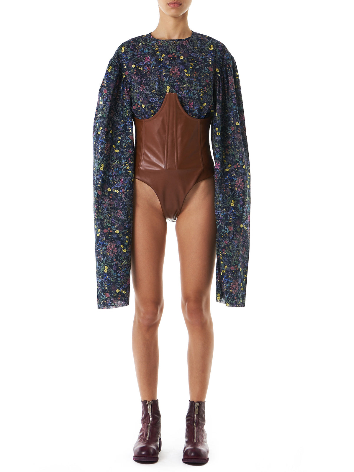 Oversized Floral Bodysuit (TOP01-STRWFIELD-DARK-BROWN) - H. Lorenzo