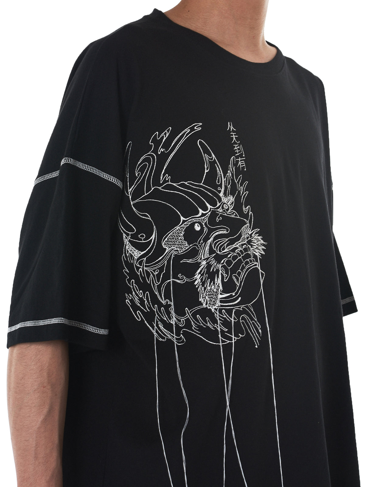R. Shemiste Embroidery Tee - Hlorenzo stitch detail