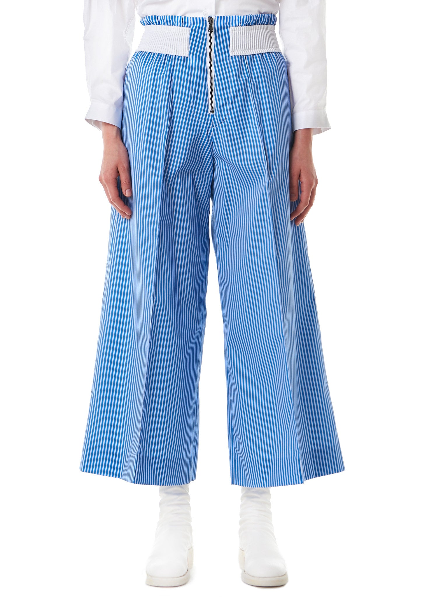 Wide-Leg Bell Trousers (TR05-STRIPES-LILAC-WHITE) - H. Lorenzo