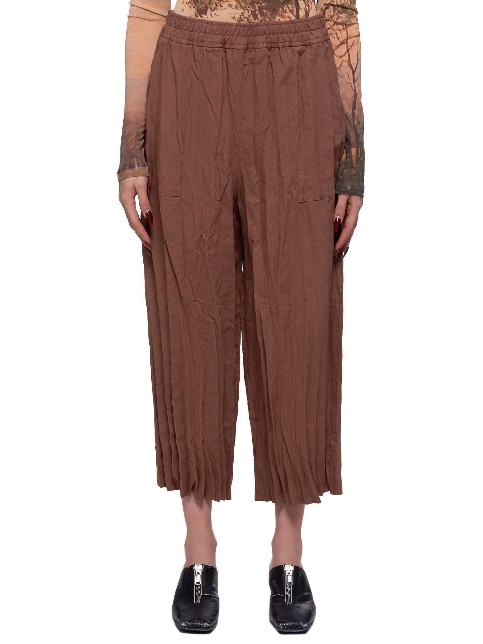 Cropped Wrinkled Trousers (TROU000318-MINK-BROWN)