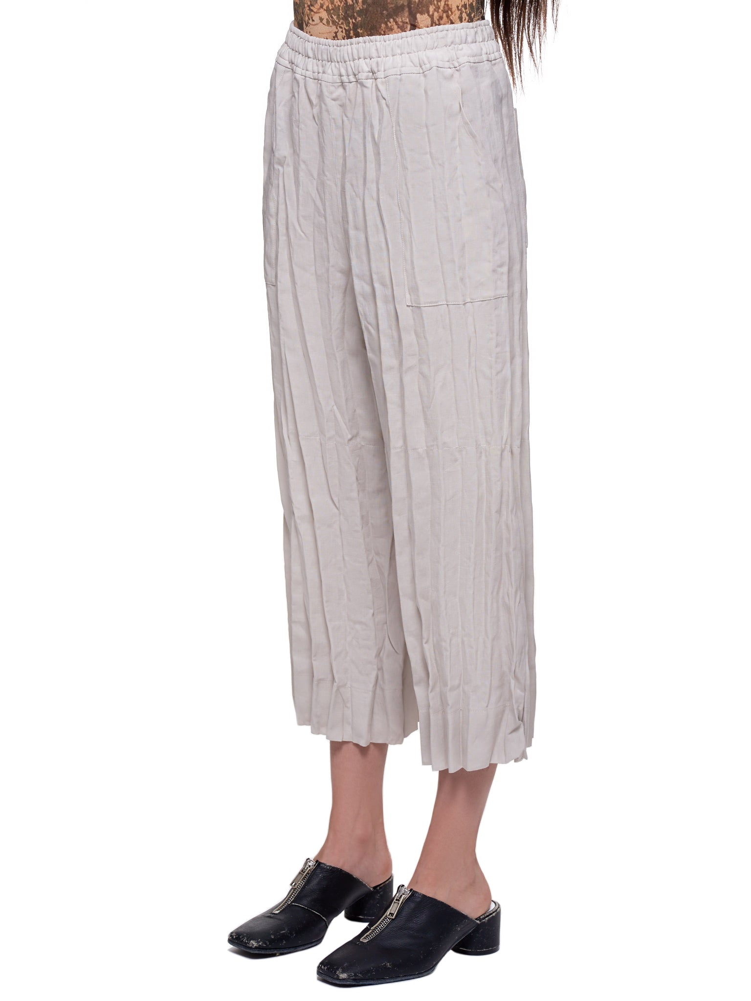 Cropped Wrinkled Trousers (TROU000318-WHITE-MELANGE)