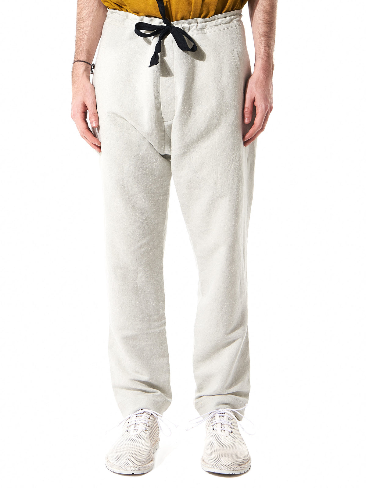 Relaxed-Fit Linen Trousers (TROUSERS#25-ICE) - H. Lorenzo