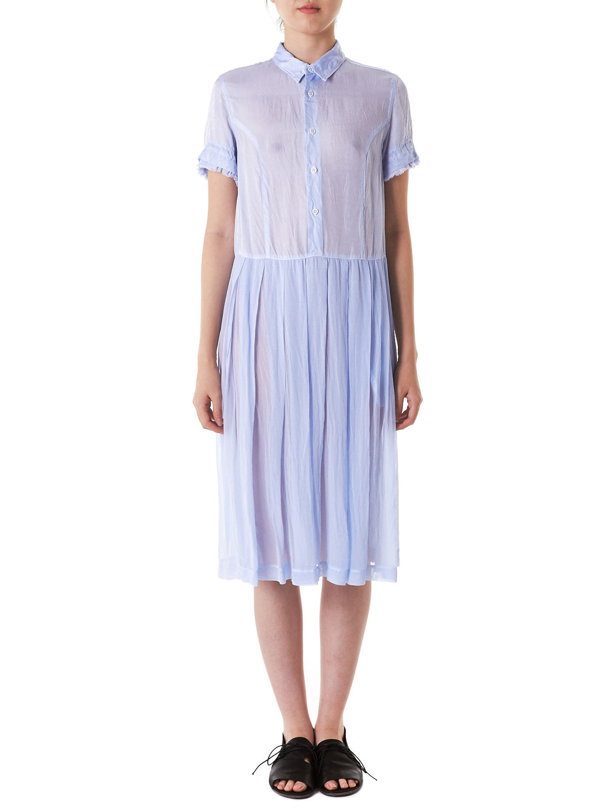 Pleated Button-Down Dress (TS-O011-051-3) - H. Lorenzo