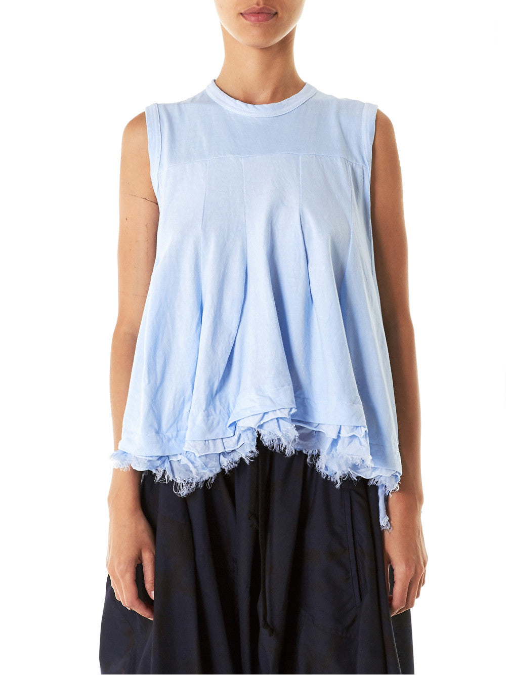 Box-Pleated Raw Hem Tank (TS-T021-051-2) - H. Lorenzo
