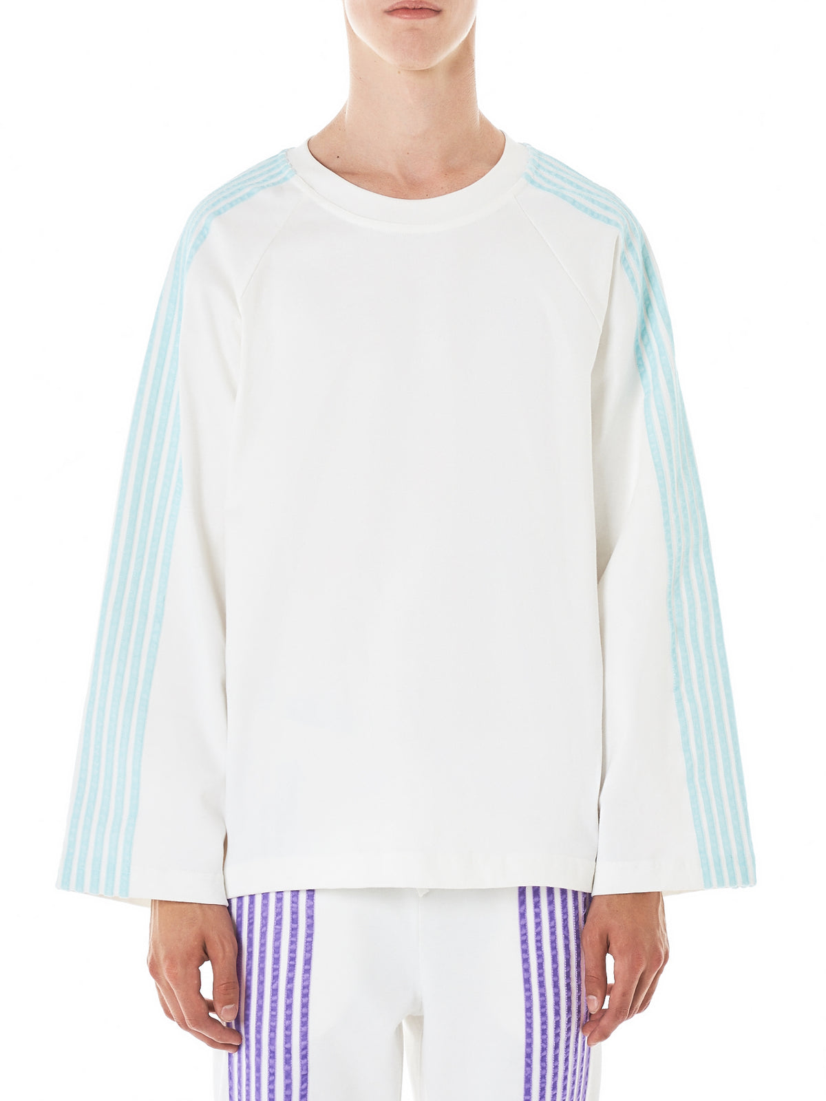 Striped Long-Sleeve Raglan Tee (TS137A5-WHT-TURQ-STRIPES)