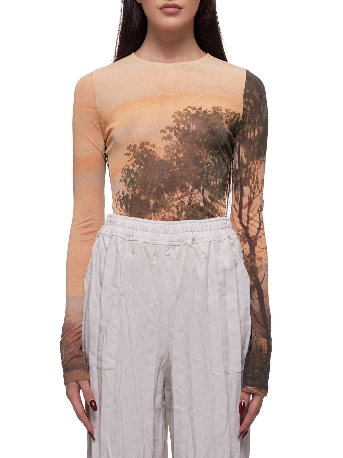 Graphic Printed Sheer Long Sleeve Shirt (TSHI000203-LANDSCAPE)