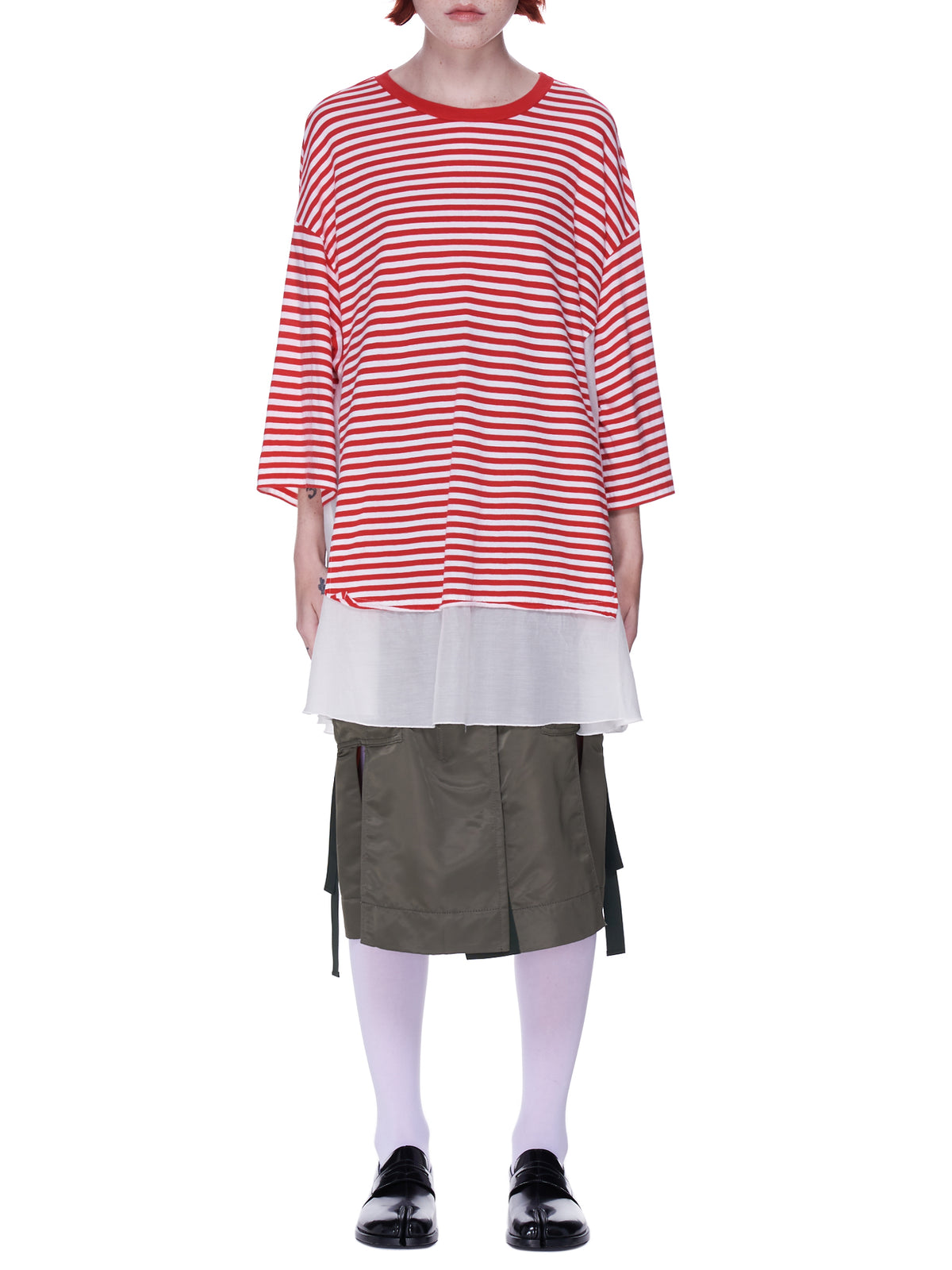 Striped Tee Dress (UC1A1804-3-RED-BORDER)