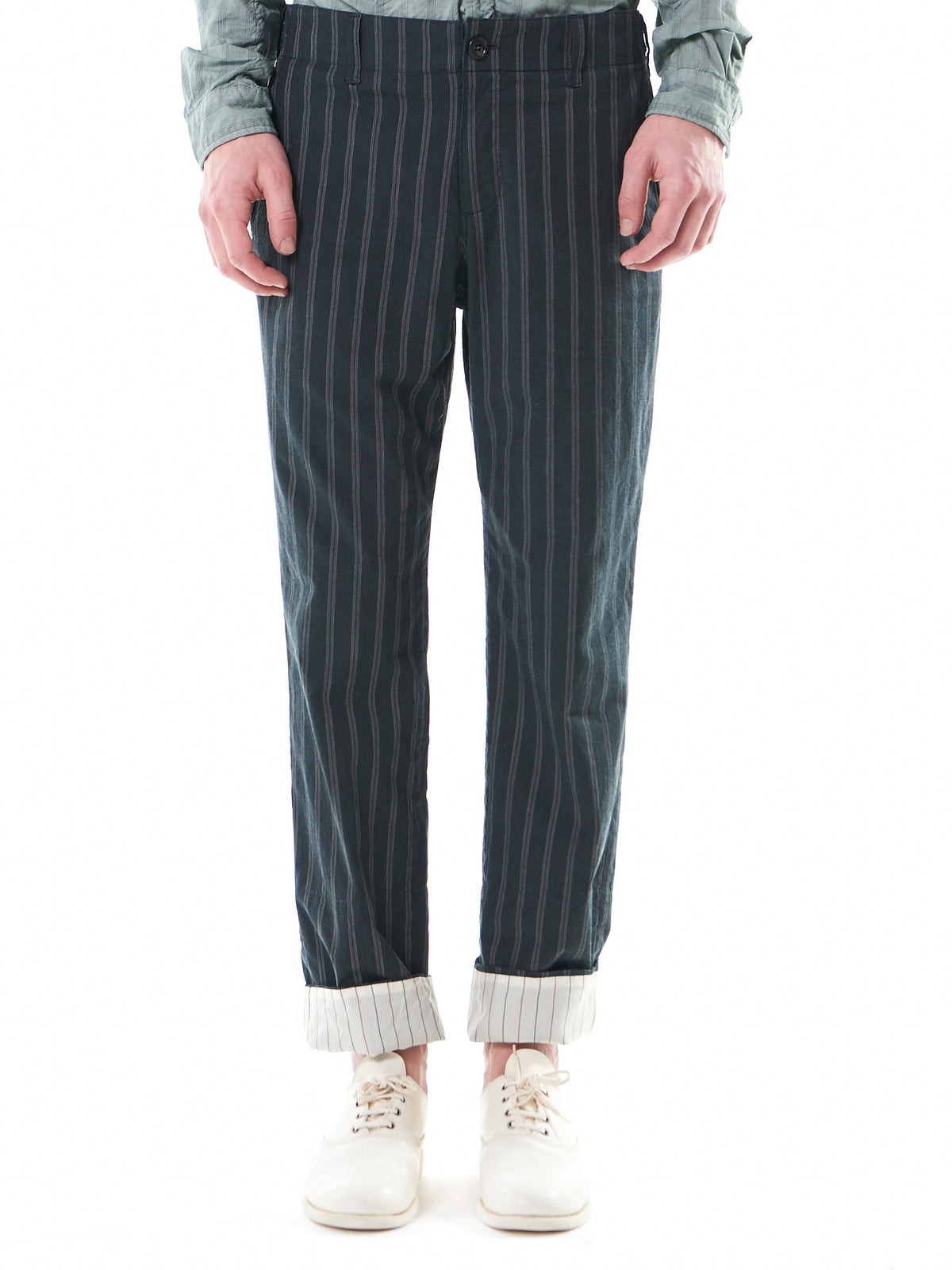 Relaxed-Fit Pinstripe Trousers (UCS4501-1-C-BLACK-ST) - H. Lorenzo