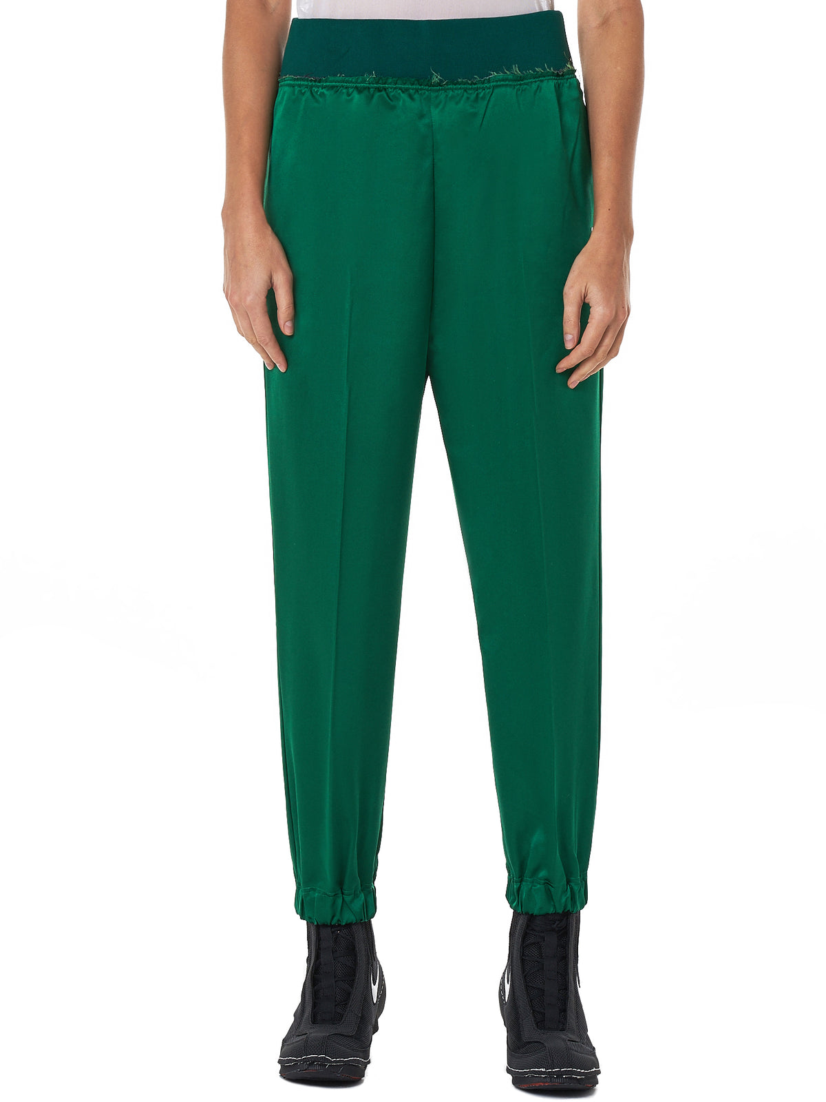 Satin Wide-Leg Joggers (UCV1501-3-GREEN)