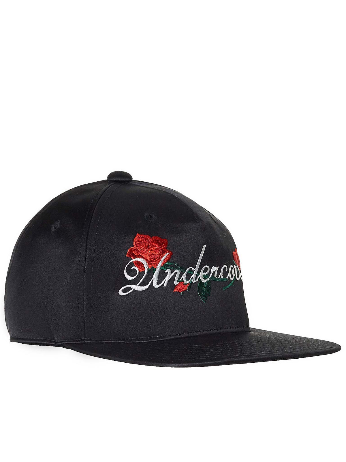 Satin Rose Embroidery Cap (UCV1H04-2-BLACK)