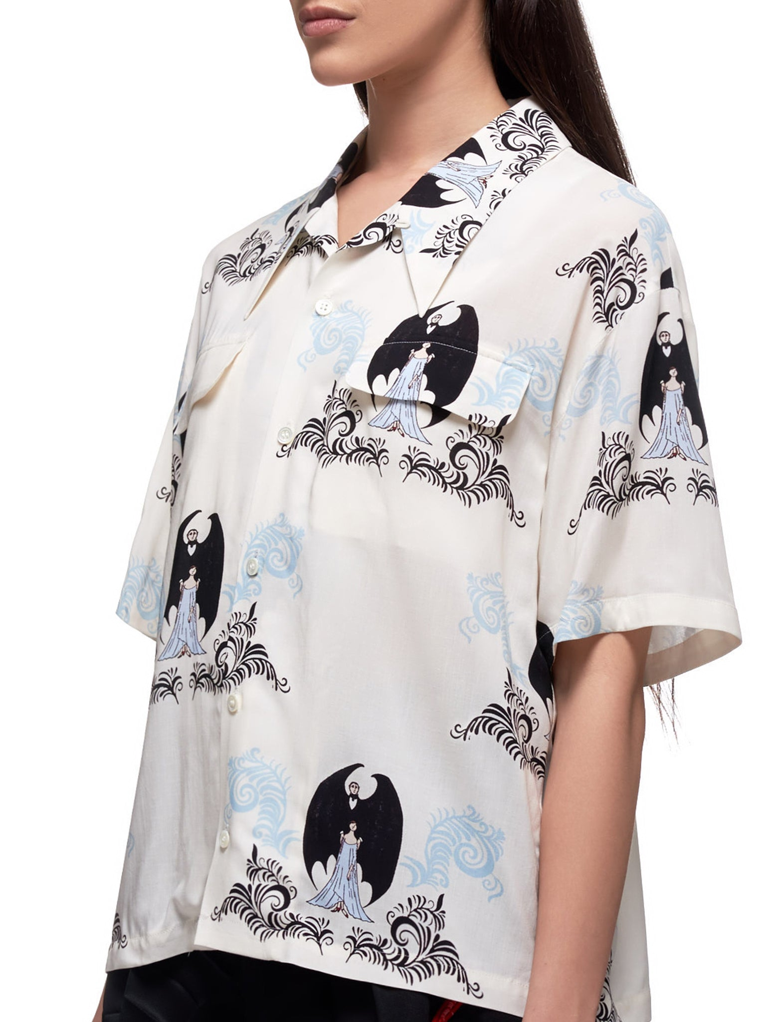 Graphic Short Sleeve Button Down Shirt (UCY1405-2-WHITE)