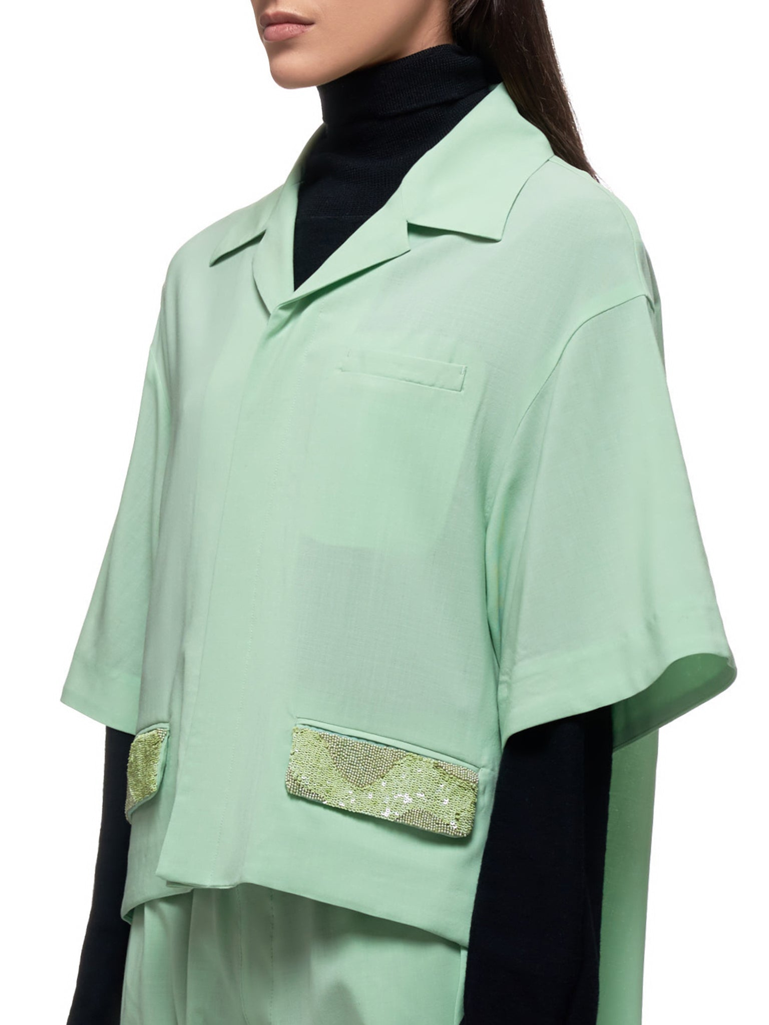 Layered Camp Shirt (UCY1407-1-PALE-GREEN)