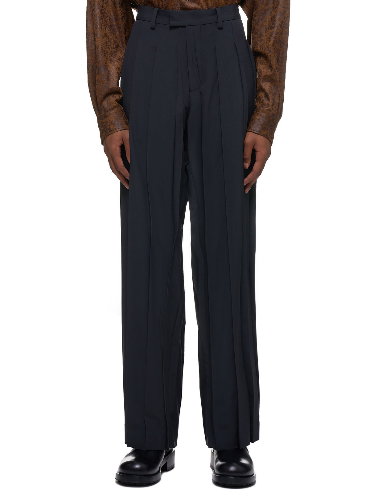 Pleated Wool Trousers (UCY4502-5-BLACK)