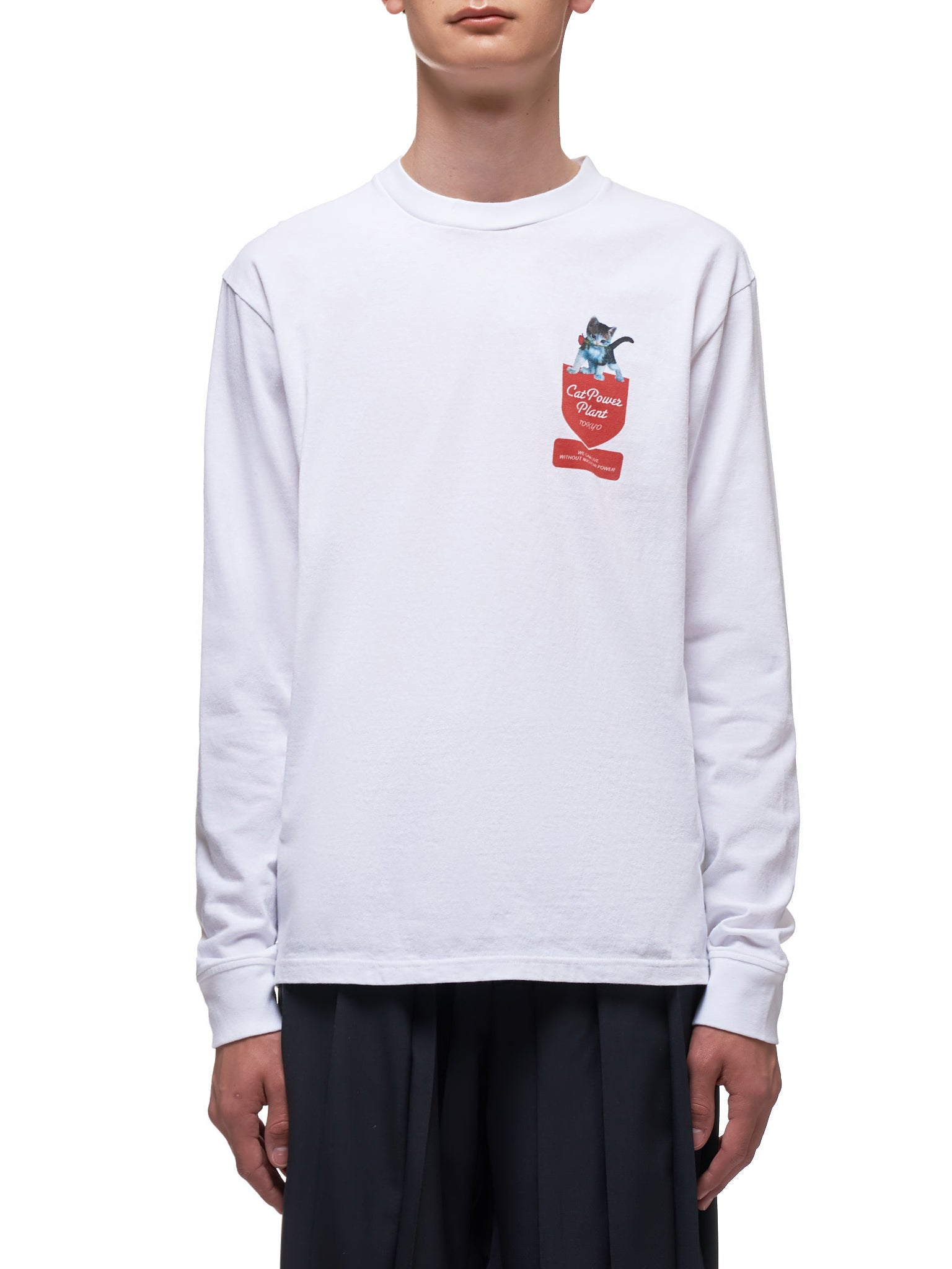 Cat Power Graphic Long Sleeve (UCY4892-3-WHITE)