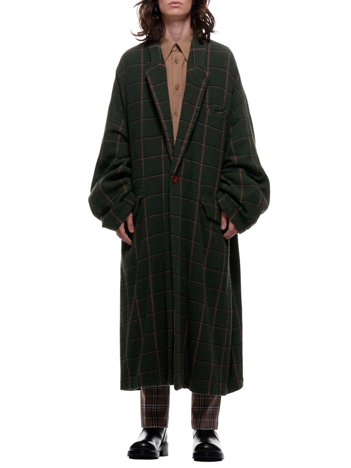 Plaid Wool Coat (UCZ4304-2-KHAKI-CHECK)