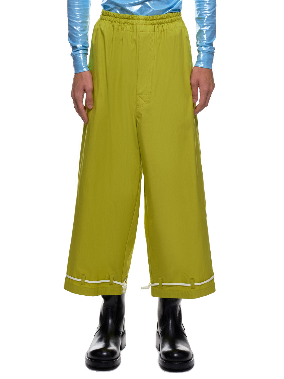 Cropped Flat Front Trousers (UCZ4509-1-DARK-YELLOW)