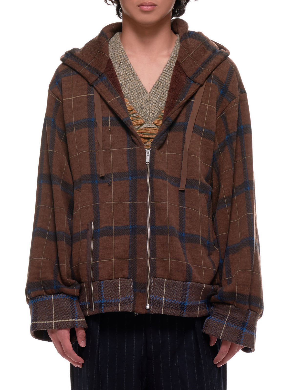 Plaid Zip-Up Hoodie (UCZ4801-BROWN-CHECK)