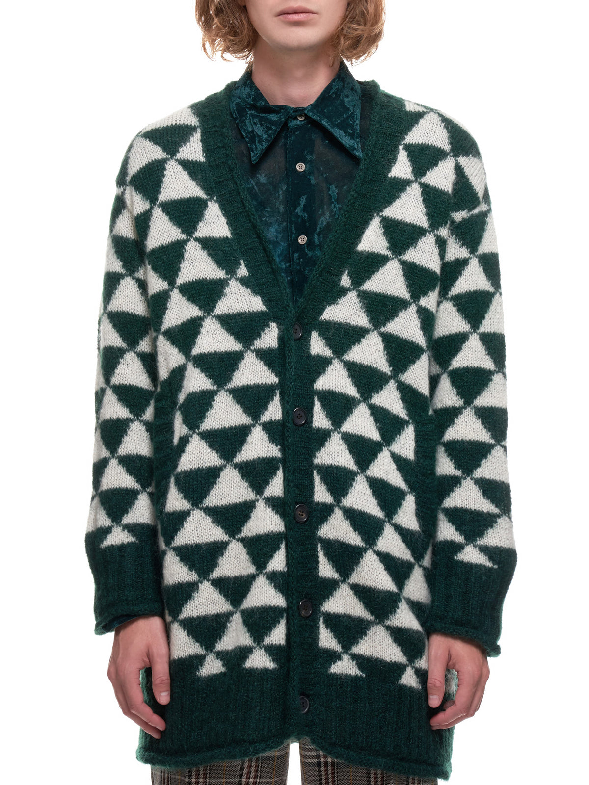 Mohair Wool Cardigan Sweater (UCZ4902-1-GREEN)