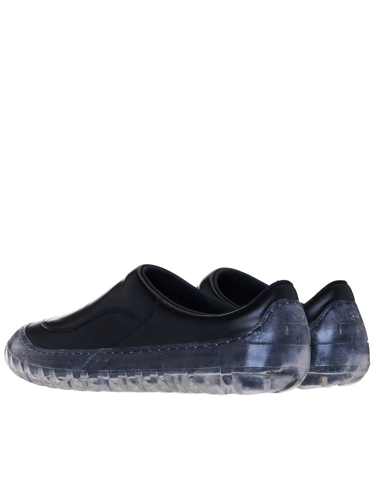 Clear Sole Leather Loafers (UF015-BLACK)