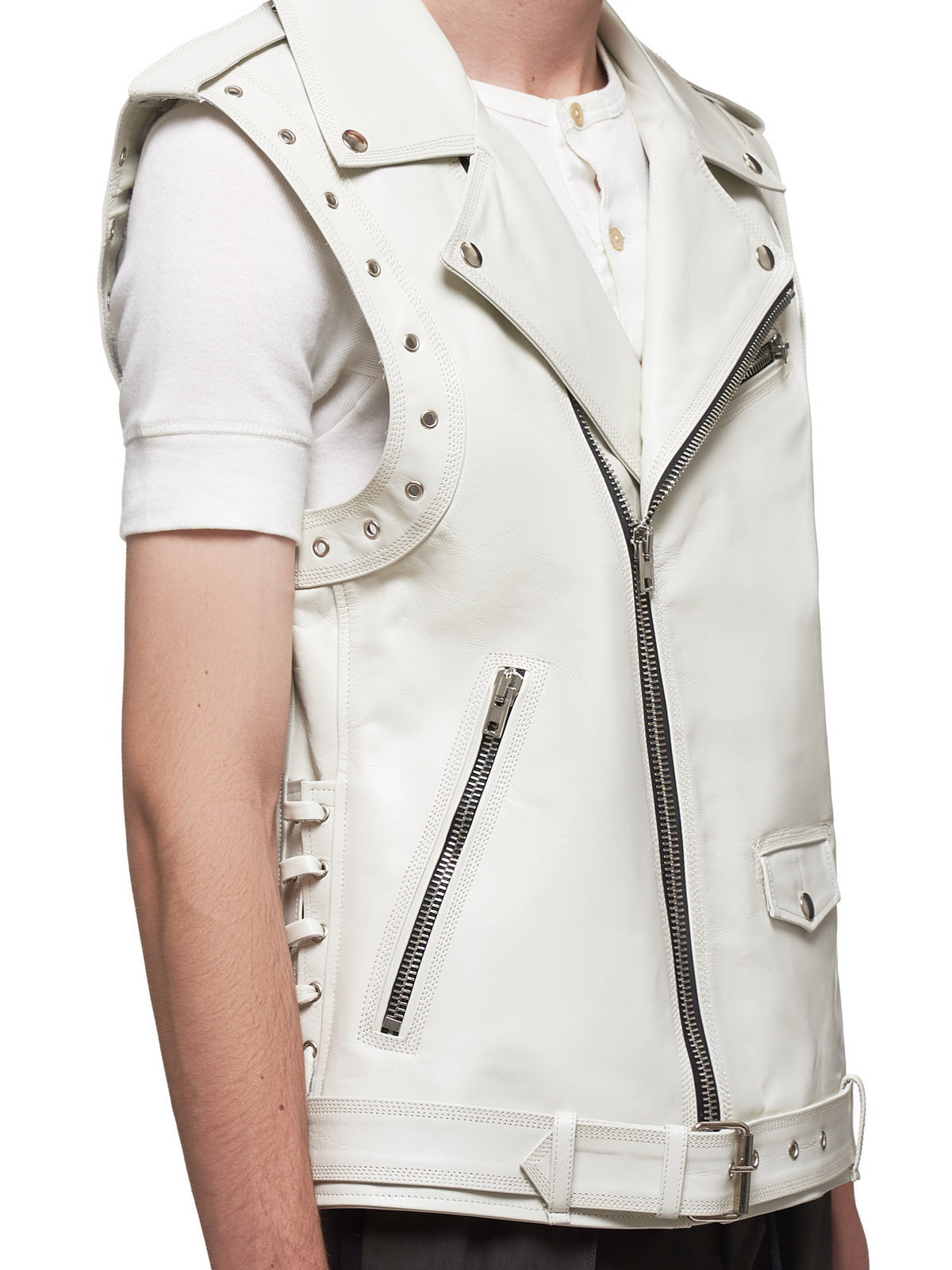 Leather Biker Vest (UL02-DIRTY-WHITE)