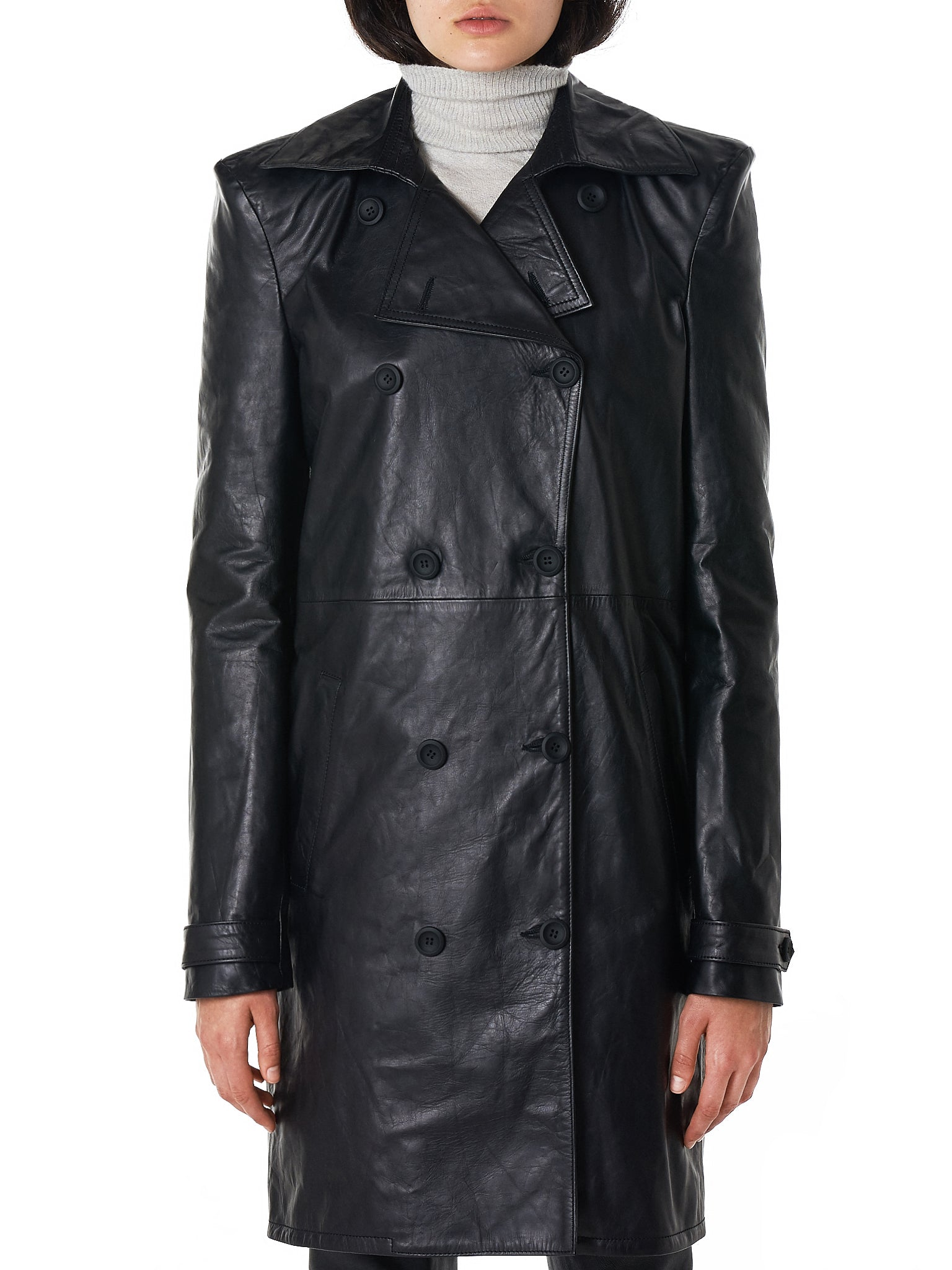 Unravel Leather Coat - Hlorenzo Front