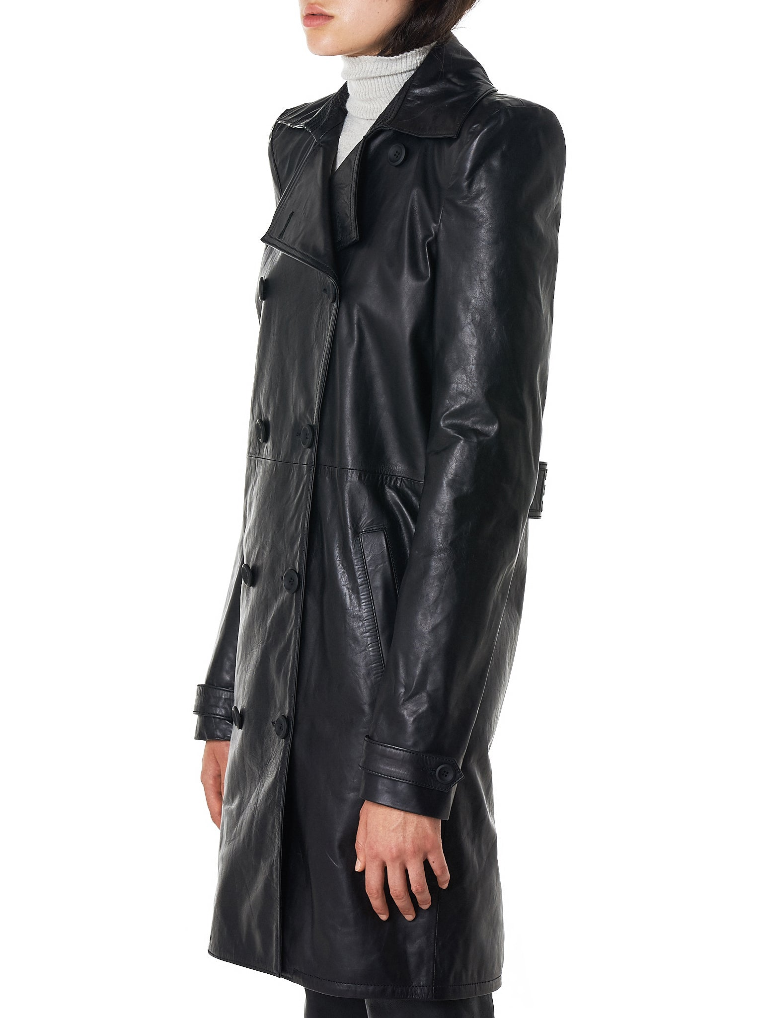 Unravel Leather Coat - Hlorenzo Side