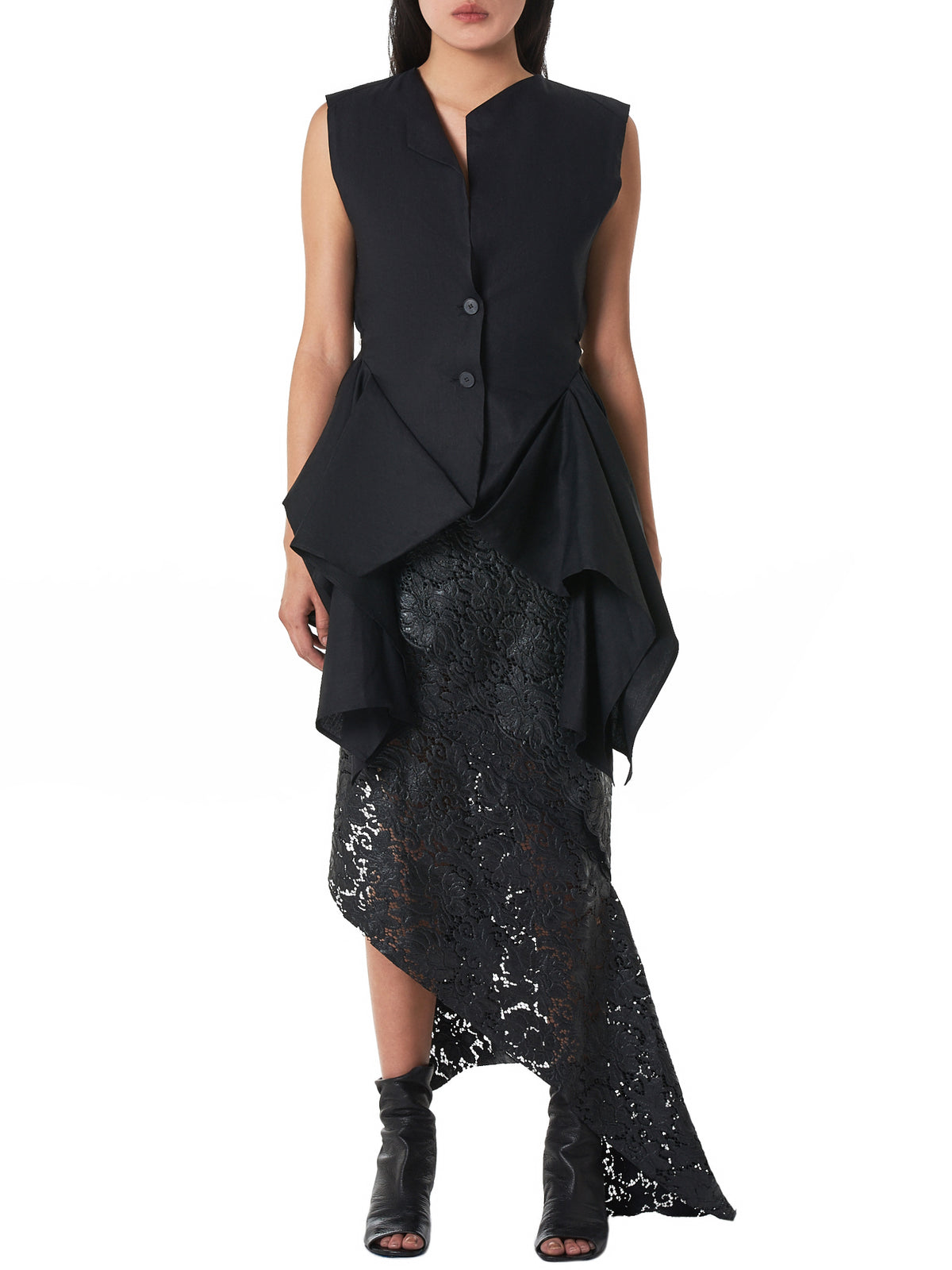Draped-Front Vest (V02S19LL-BLACK)