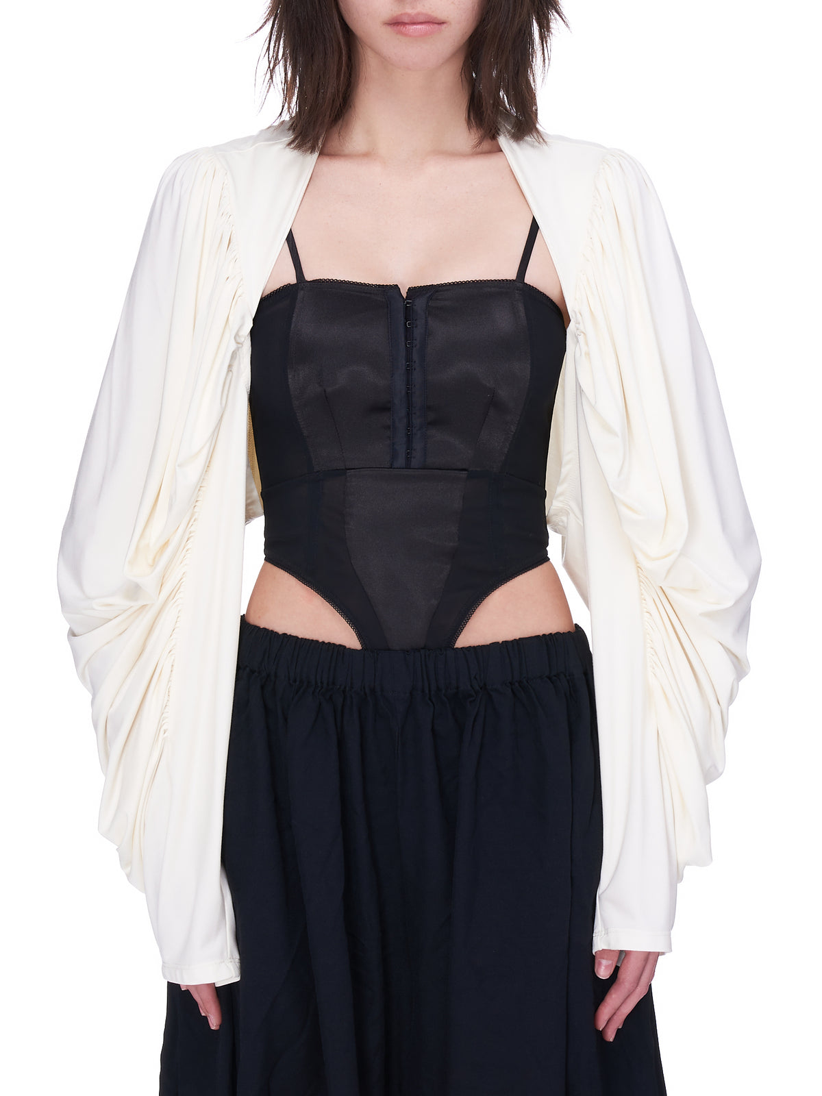 Puff Sleeve Shrug Top (VAQ01J009-IVORY)