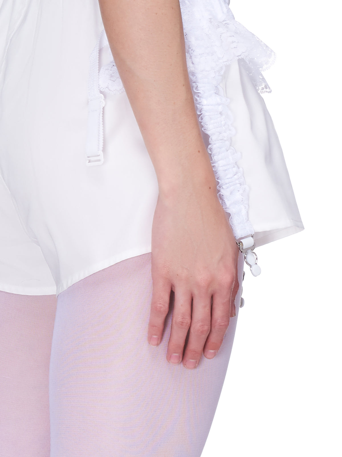 Garter Mini Shorts (VAQ01P011-WHITE)