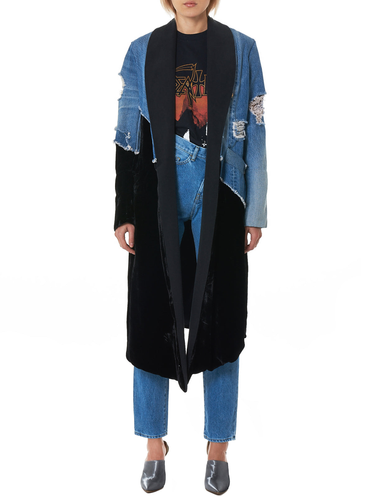 Denim Velvet Overcoat (W037-BLACK-DENIM-BLUE)