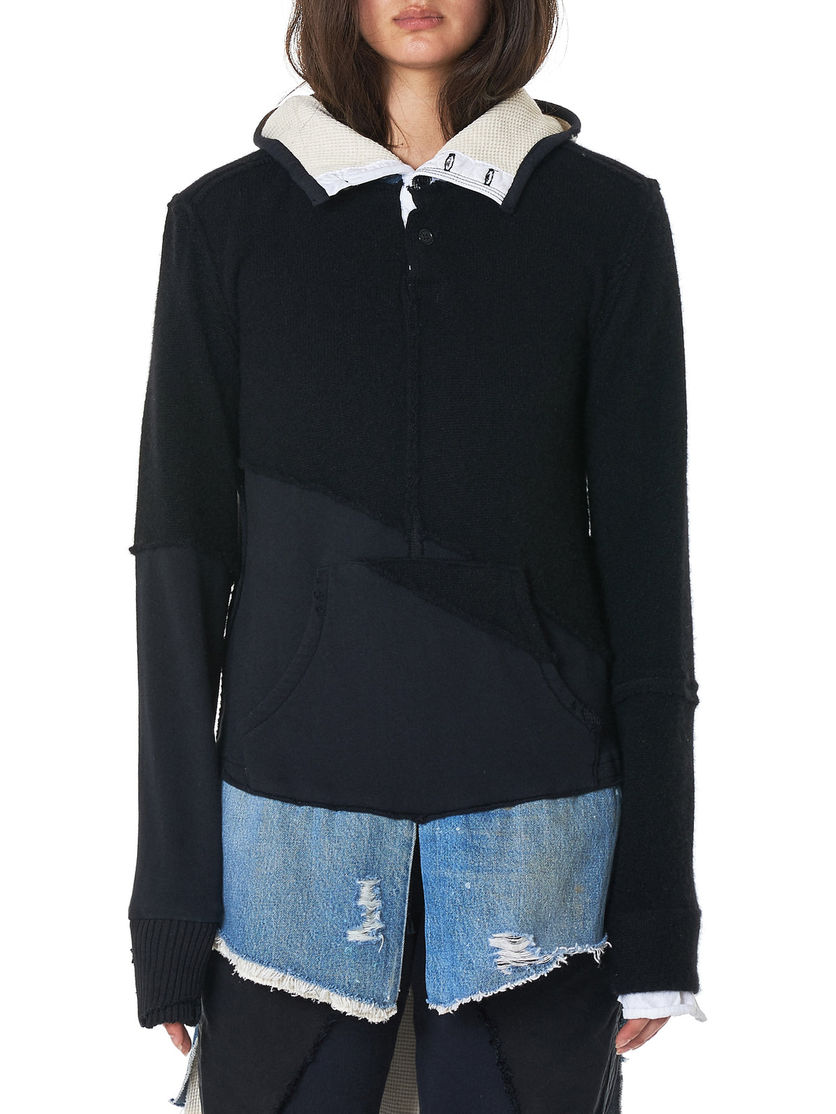 Layered Hooded Pullover (W052-BLACK-WHITE-DENIM-BLUE)