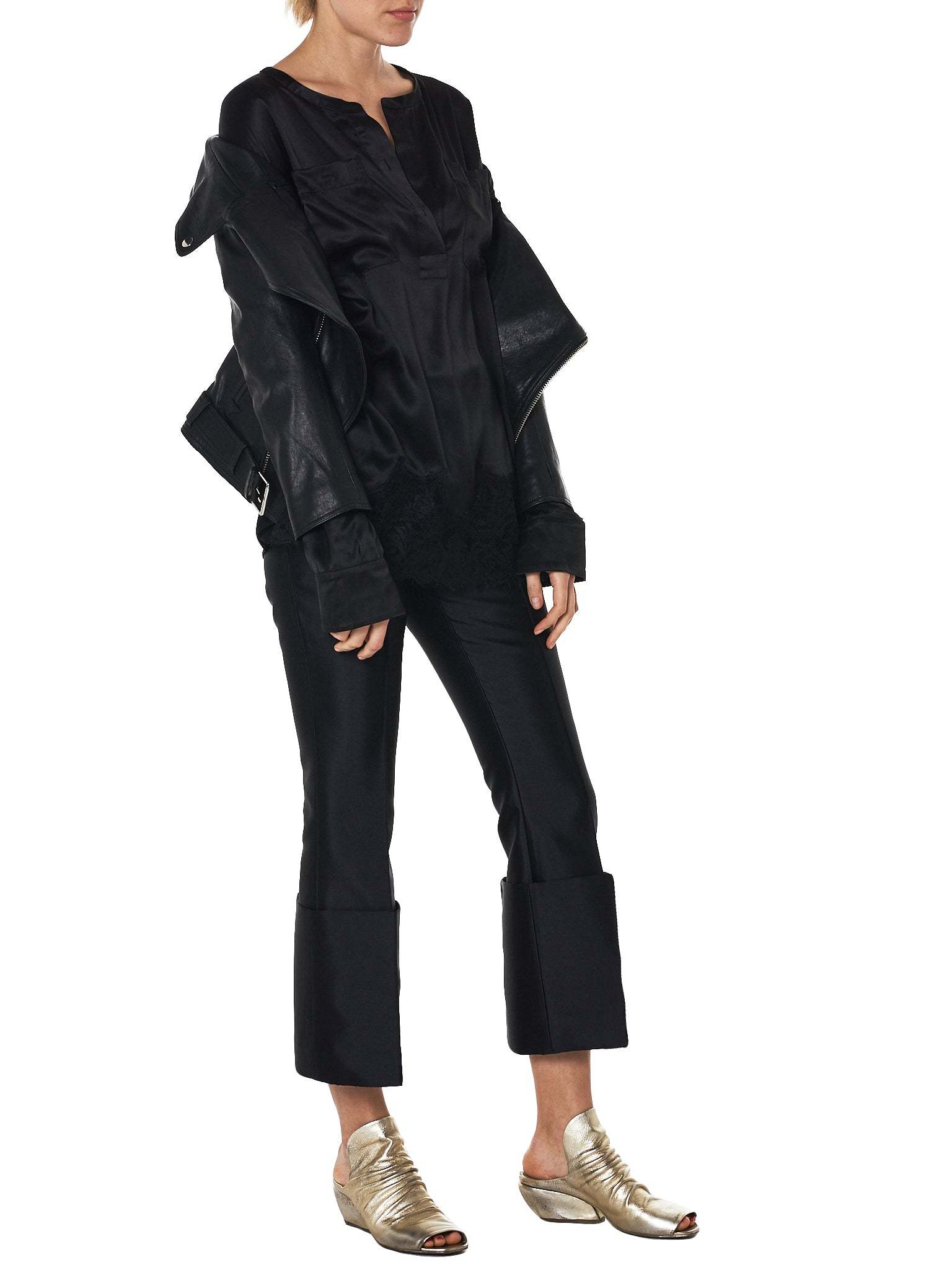 faith connexion off-shoulder leather jacket - H.Lorenzo styled