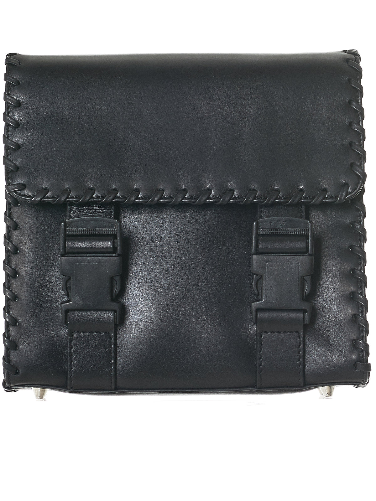 Leather Lace Shoulder Bag (W2001-BLACK)