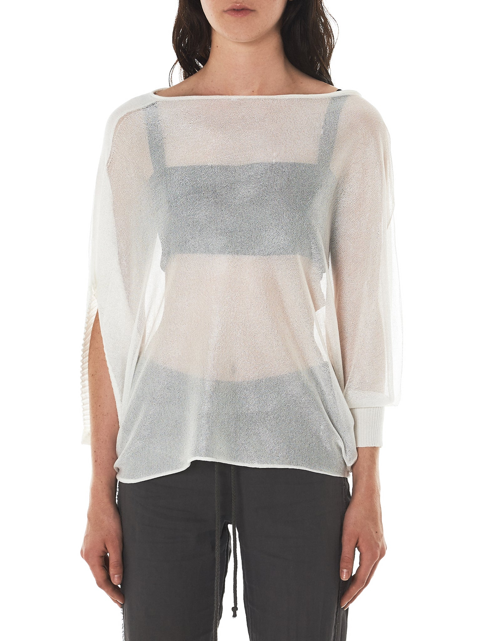 Asymmetric Sleeve Top (W22-750-126-ECRU)