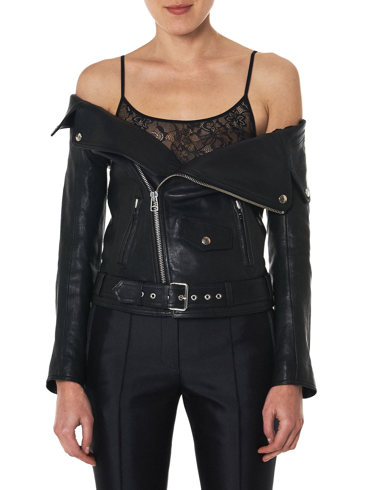 faith connexion off-shoulder leather jacket - H.Lorenzo Front