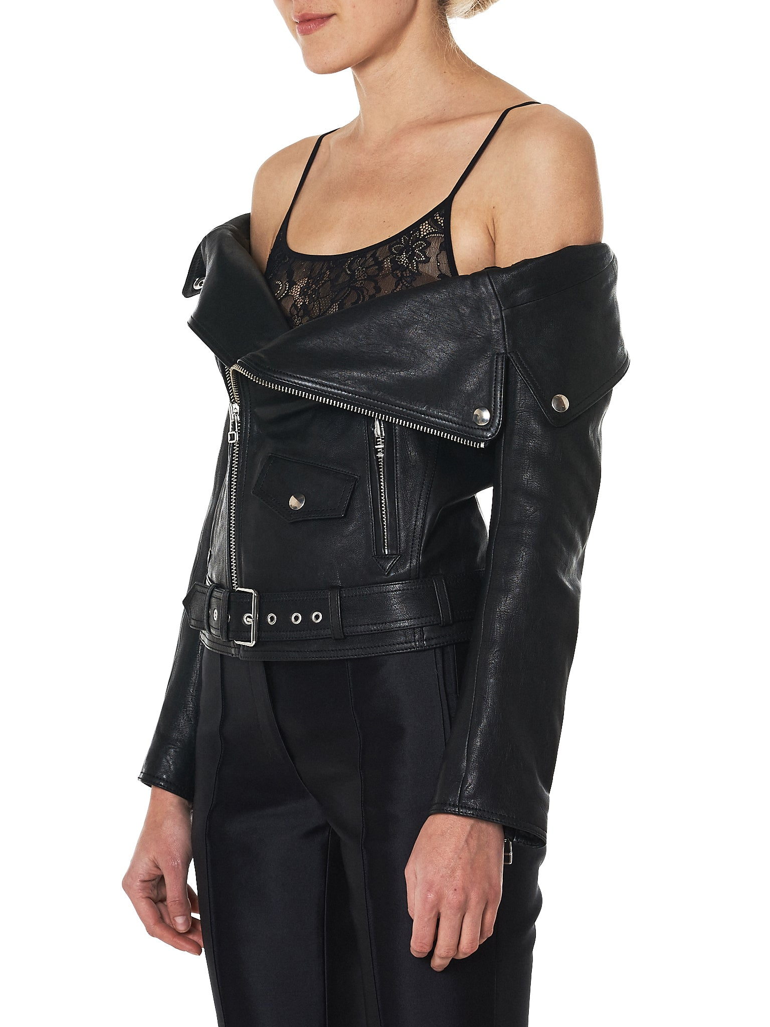 faith connexion off-shoulder leather jacket - H.Lorenzo side