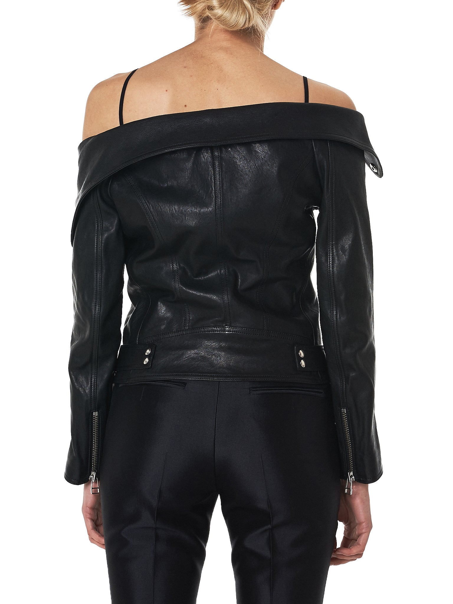 faith connexion off-shoulder leather jacket - H.Lorenzo back