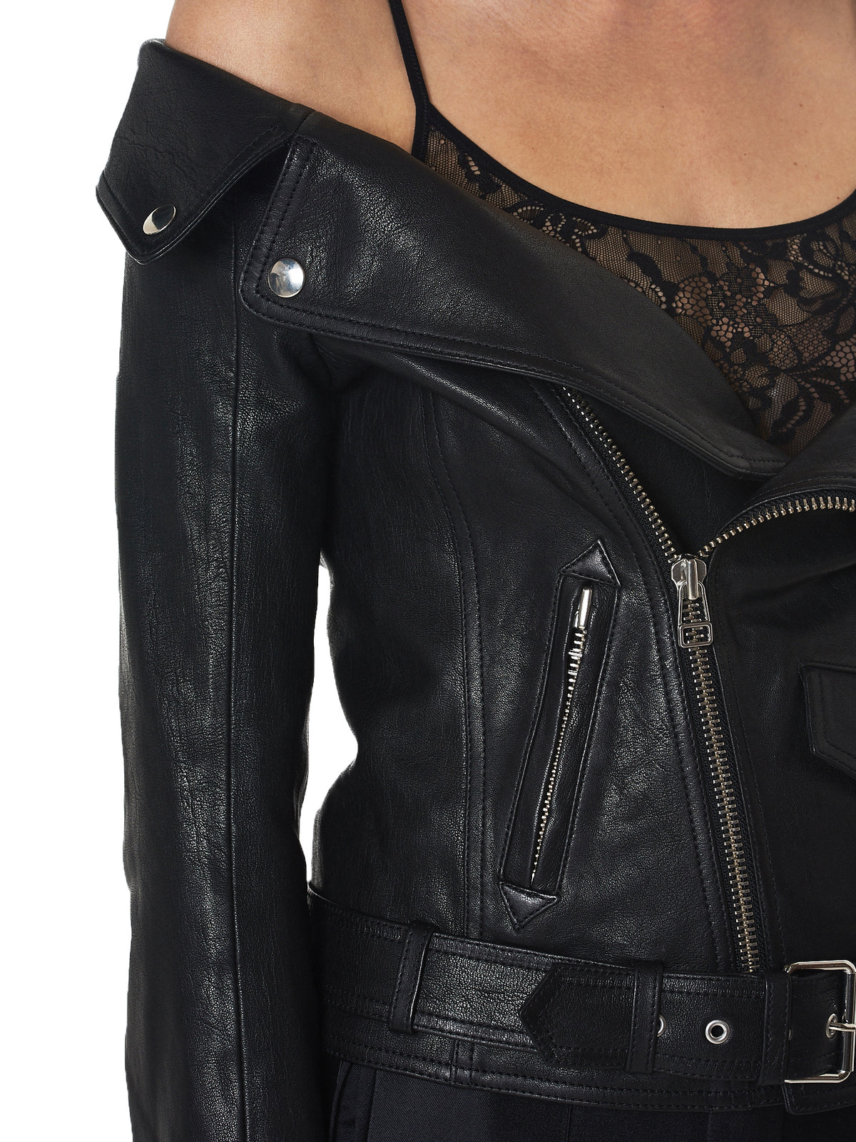 faith connexion off-shoulder leather jacket - H.Lorenzo detail