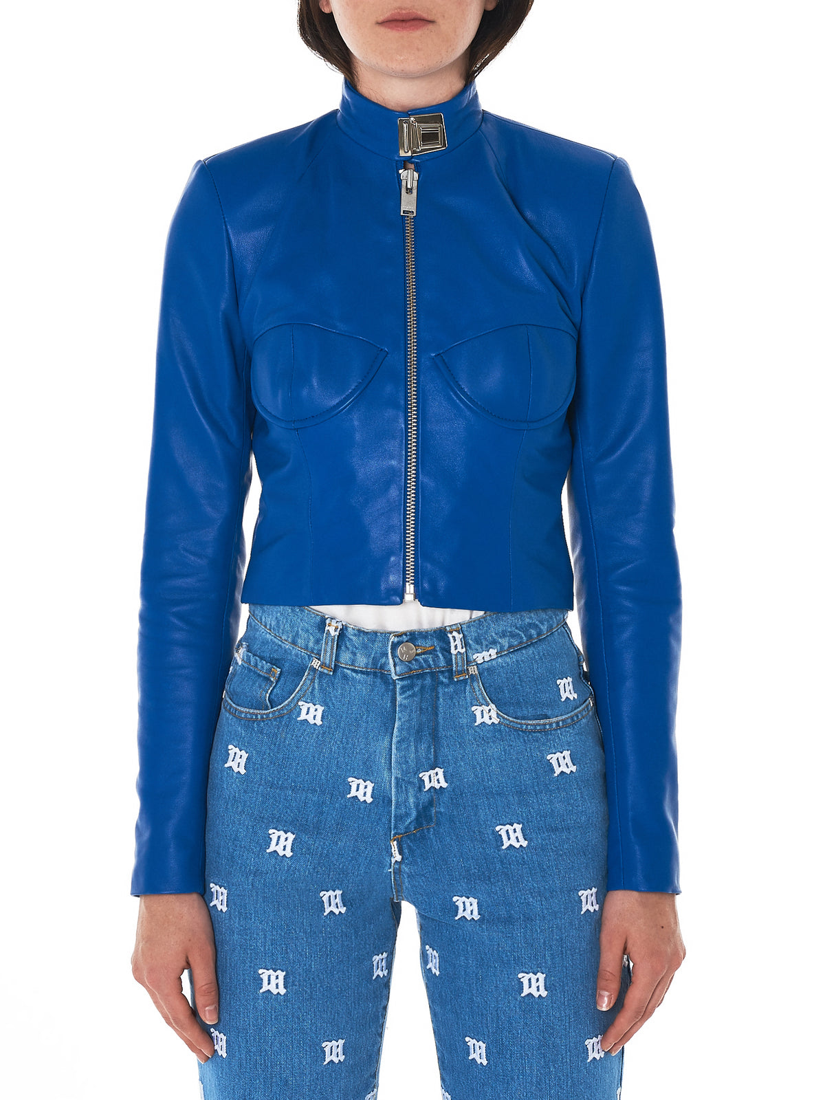 MISBHV blue leather jacket- H.Lorenzo front