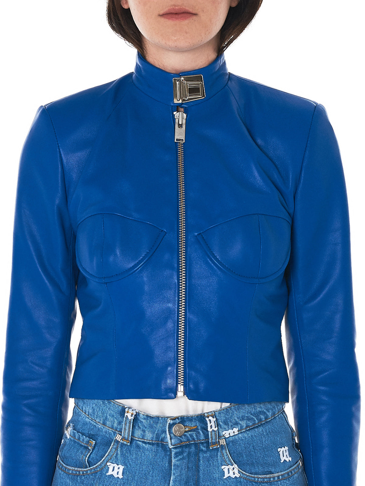 MISBHV blue leather jacket- H.Lorenzo collar detail